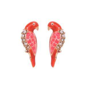 Enamel Parrot Crystal Vintage Gold Stud Earrings